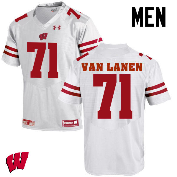 Men Wisconsin Badgers #71 Cole Van Lanen College Football Jerseys-White